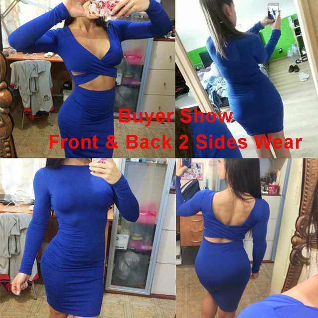 V66 Women's Sexy Bodycon Bandage Long Sleeve Elastic Dress