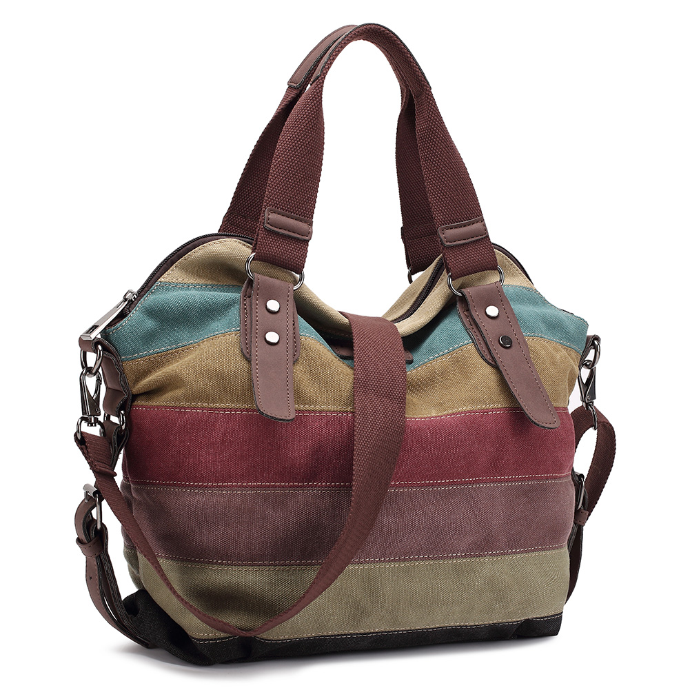 ФОТО 2016 Women Casual Rainbow Canvas Tote Bag  Striped Women Handbags Patchwork Women Shoulder Bag