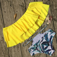 BJHOW High Waist Swimsuit Plus Size 2017 Sexy Ruffle Swimsuit Women Doubledeck Flouncing Swimwear Vintage Bandeau