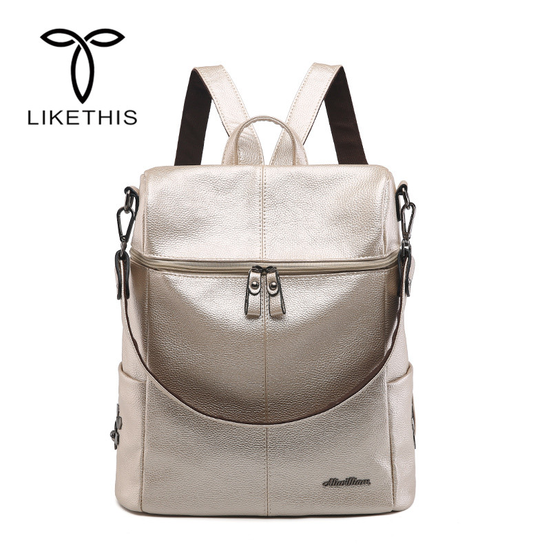 Likethis Leather Backpack Women Pu Shoulder Bag For Woman 2019 Large Capacity Solid Oxford Cloth Zipper Mochilas Feminina Zaino Backpacks