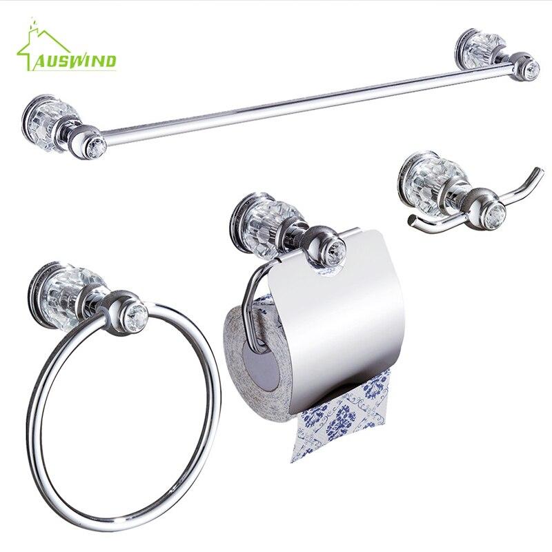 Chrome Crystal Brass Bathroom Hardware Set 4 Pieces (towel Rack/ Towel Ring/ Paper Holder/ Hook) Into A Set