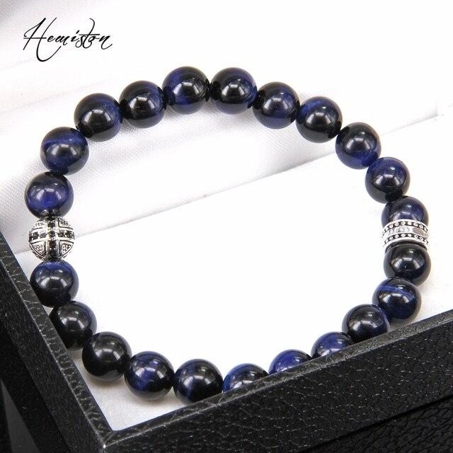 Купить браслет эластичный мужской с синими бусинами тигрового глаза