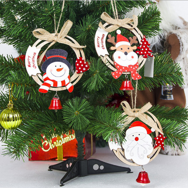 Cool Snowman Decoration Ornaments For Christmas Tree: 2019 Wooden Santa Clause Bow Bell Christmas Tree Ornament