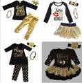 2017 New Year Girls Sequins Spark Clothing Set 4pcs Kids Spark Top Shiny Pants Skirts And Headband Necklace Clothing Suits