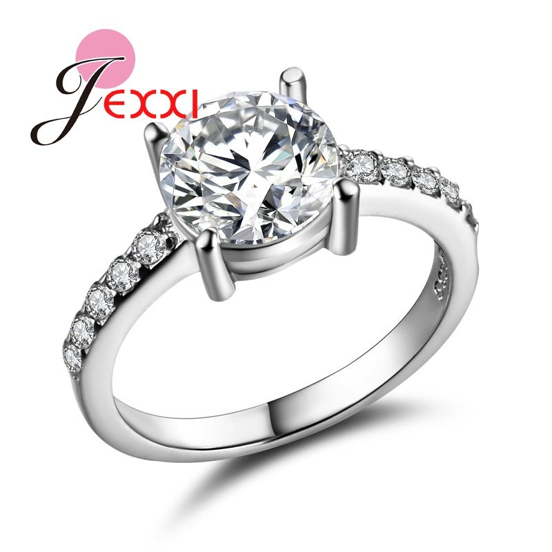 Jewelry & Accessories Wedding Bands Reasonable Jexxi Hot Rings Fashion 925 Sterling Silver Ring For Women Bands Jewelry Red Blue Cz Rhinestone Engagement Proposal Anillos