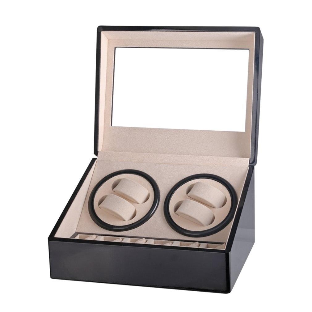 US/EU/AU/UK Plug Automatic Mechanical Watch Winders Storage Box Case Holder 4+6 Collection Watch Display Jewelry Black
