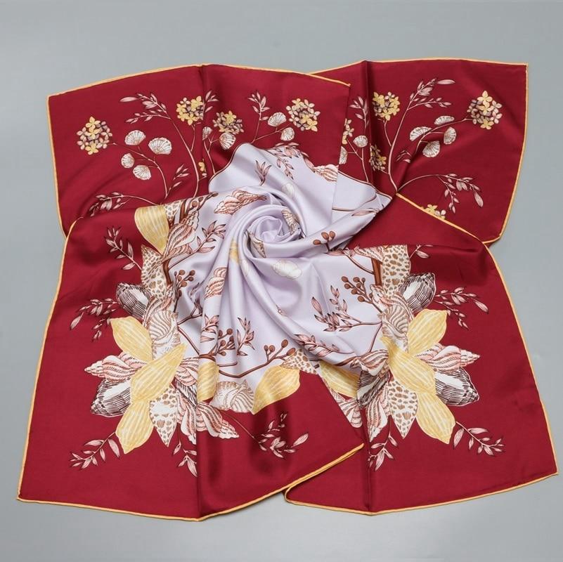 Floral Print Head   Scarves   Hijab Large Square Silk   Scarf   Shawl Women 90*90 100% Silk Twill   Scarf     Wraps   High Quality Female Gifts