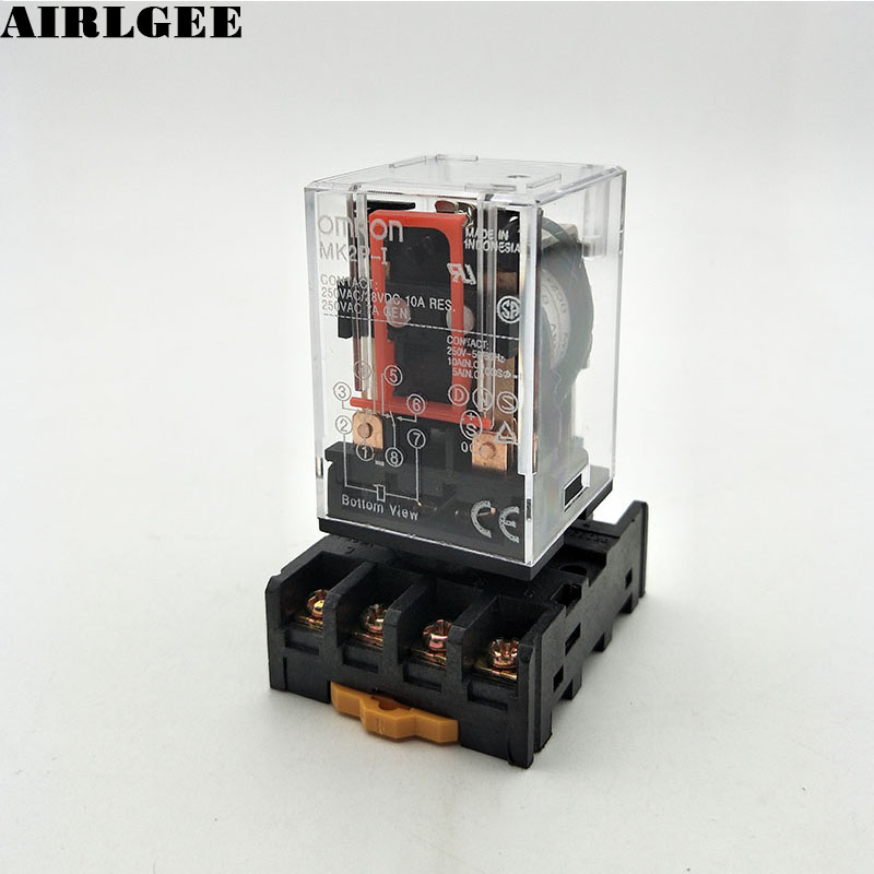 Industrial DC 24V Coil 2NO 2NC 8 Round Pin Electromagnetic Power Relay w 35mm DIN Rail Socket Free Shipping