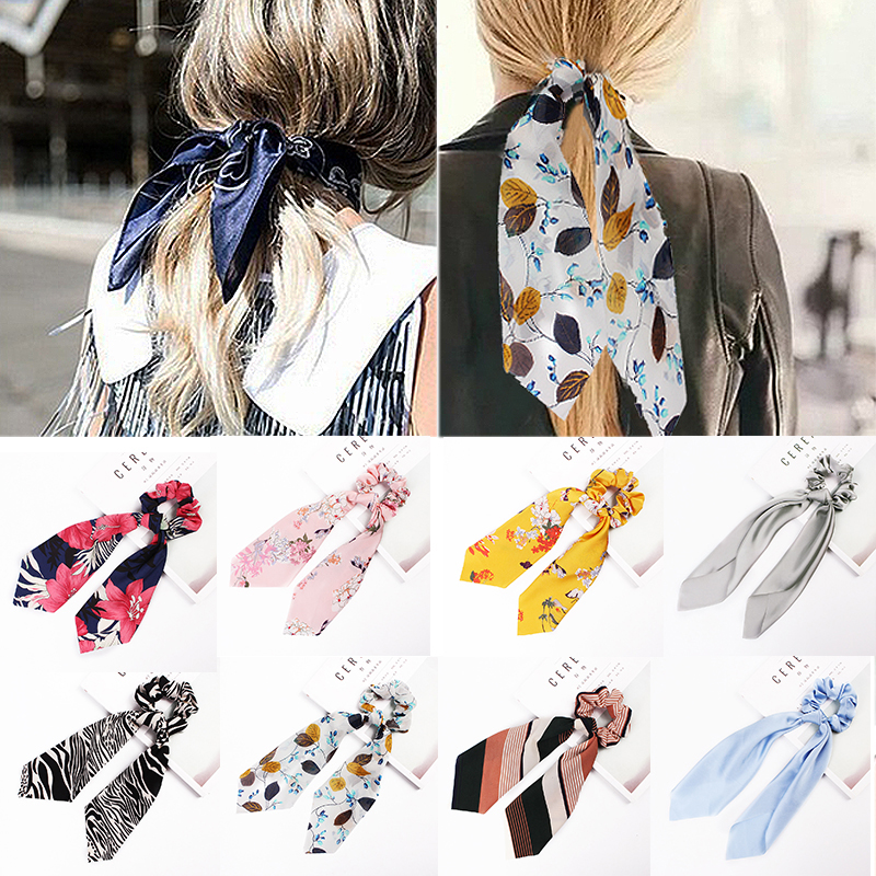 2019 New 1pcs Satin Ribbon Printing Scarf Elastic Solid Floral Hair Band Long Rope Bow Scrunchie Hair Ties Accessories Hot Sale