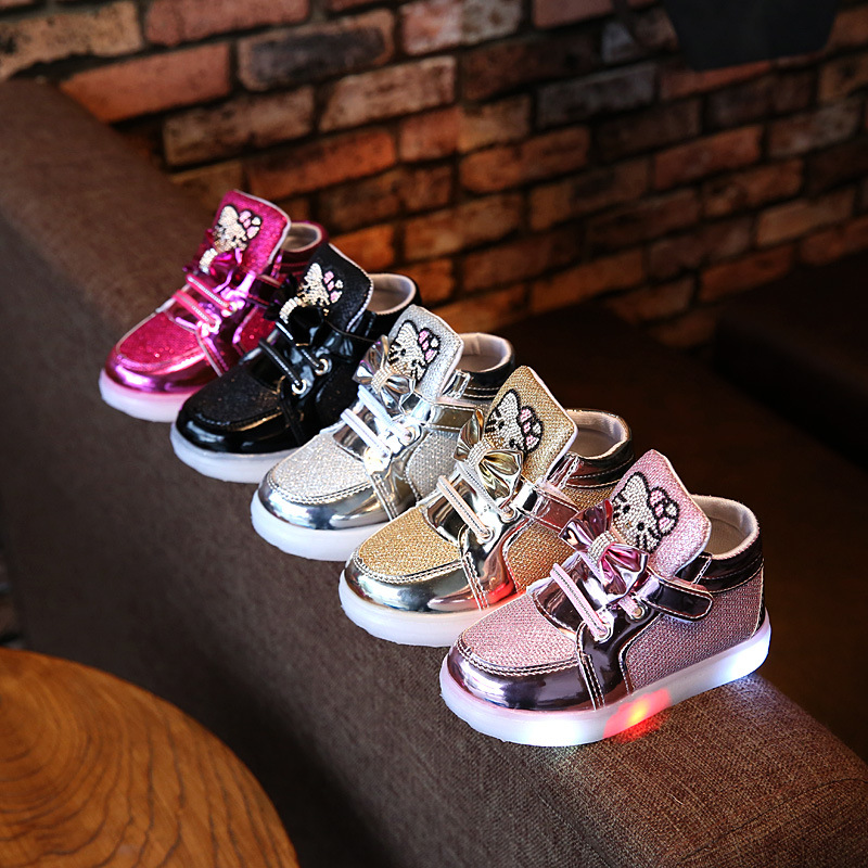 2018 Winter warm keep Lovely LED lighted children boots ankle fashion glitter girls boys shoes high quality baby kids sneakers 2018 led lighted lace up cute baby girls boys sneakers princess lovely kids sneakers glitter fashion children causal shoes