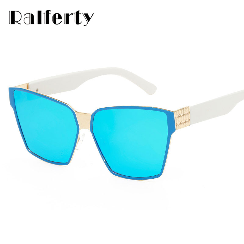 66da1b8f34 Ralferty Vintage Cat Eye Sunglasses Women Luxury Brand Retro Cateye Sun Glasses  Blue Mirrored Shades Oculos lunette femme 2240