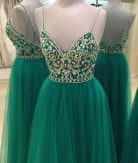 Emerald Green A-line Long   Prom     Dresses   2019 Sleeveless Deep V-Neck Long-Length Beaded Crystal Backless Spaghetti Strap Tulle
