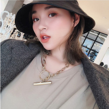 цена на Rongho Vintage Metal T shape chokers necklaces for women punk jewelry Gold circle link chain necklace pendant chunky bijoux