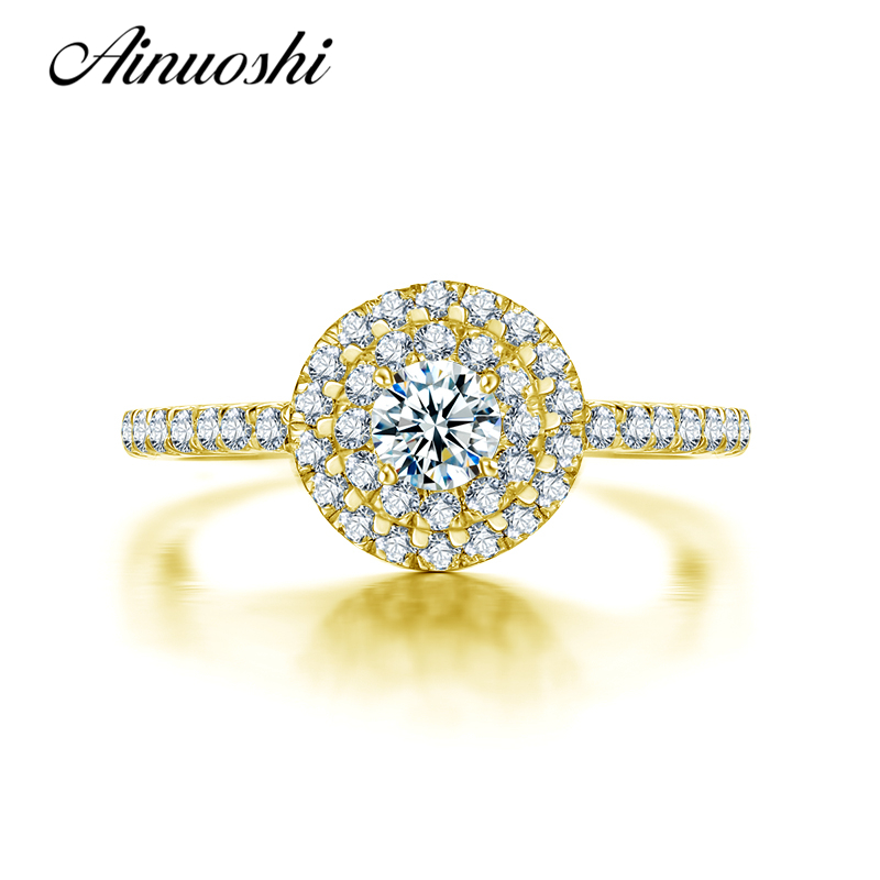 AINUOSHI 10K Yellow Gold Wedding Ring Brilliant Anel de ouro Simulated Diamond Jewelry Engagement Ring for Women Valentines Gift