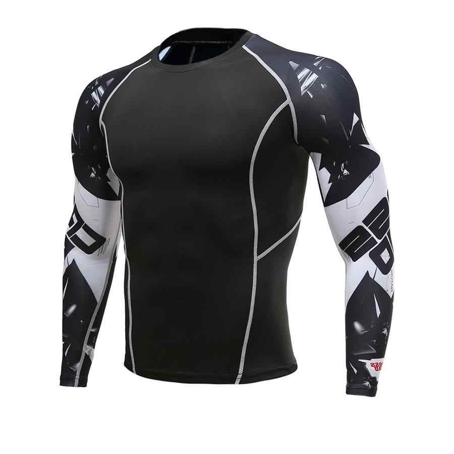 Мужские компрессионные футболки с 3D волком, подростковые футболки, футболка с длинным рукавом для мужчин, лайкра, ММА, тренировочные футболки, брендовая одежда, колготки