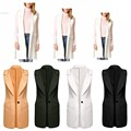 2017 New Fashion Women Turn Down Collar Vest Sleeveless Solid Casual Slim One Button Outwear Sleeveless Jackets Blazer Vest Hot!