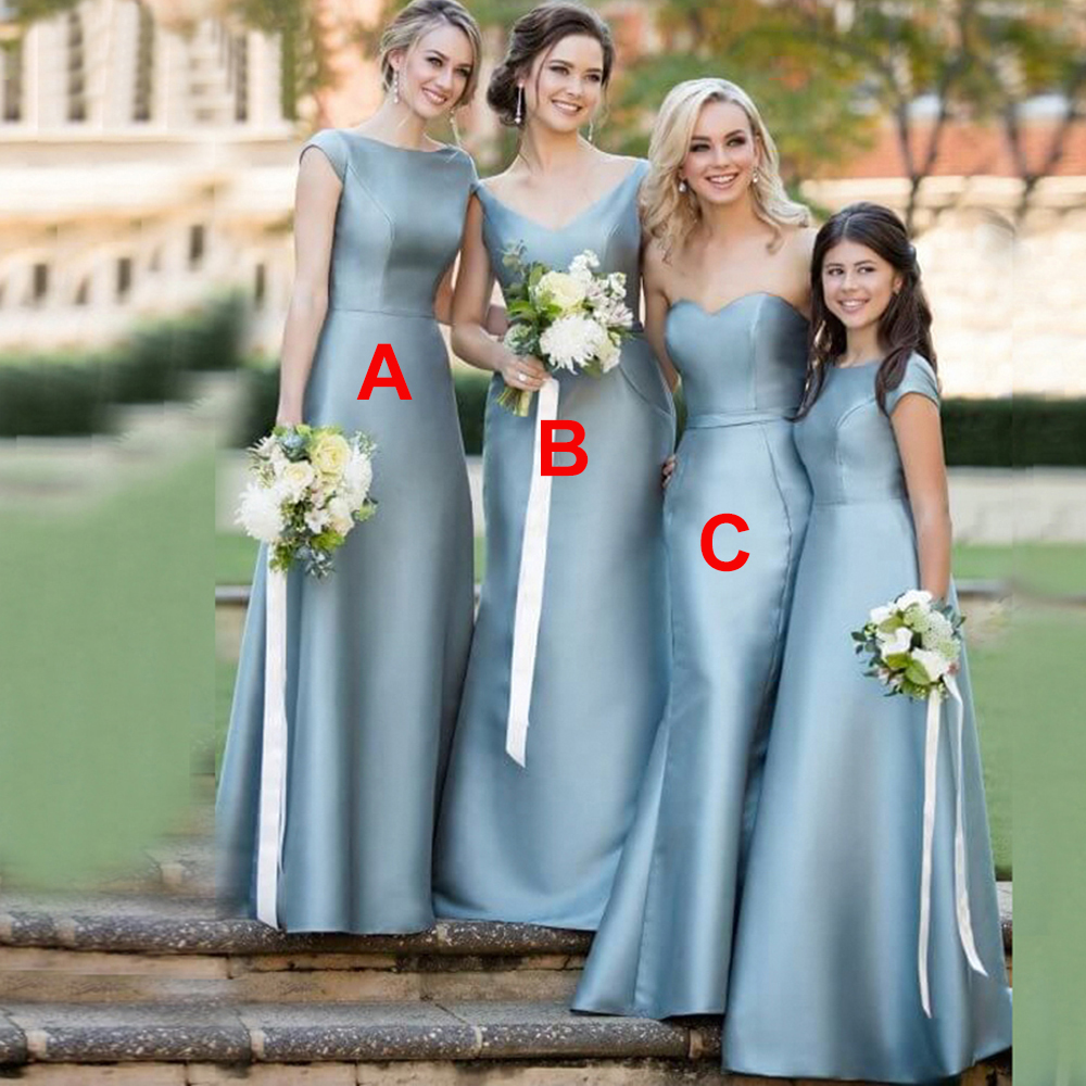 Bbonlinedress Cap Sleeves A line Satin   Bridesmaid     Dresses   2019 Long   Bridesmaid   Wedding Party   Dresses   vestido dama de honor boda
