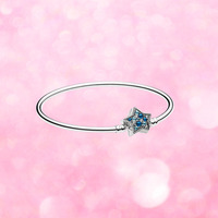 2018 Winter Collection 925 Sterling silver Bangle With Star Clasp Charm Fit Pandora Charm Bracelet DIY Making Fashion Jewelry