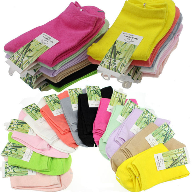 10pcs=5pairs/lot Spring Autumn Fashion Brand Women Sporting   Socks   High Quality Bamboo Fiber Casual Female   Socks   Meias Size 35-41