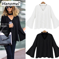 New Fashion Ropa Mujer Vneck Loose Blouse For Women 2017 Summer Blusas Ruffles Long Sleeve Women's Tops Solid Chemise Femme C232