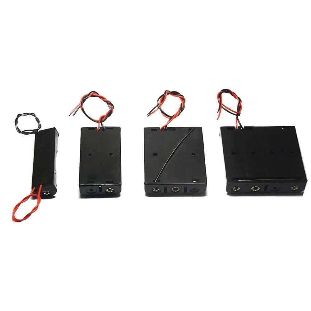 พลาสติกสีดำ 1x2x3x4x18650 แบตเตอรี่กล่องใส่กล่อง 1 2 3 4 way DIY แบตเตอรี่คลิปผู้ถือคอนเทนเนอร์สายไฟ Pin