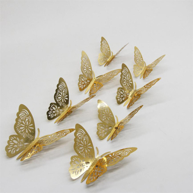 12PCS 3D Wall Stickers Butterfly Silver Mirror Decoration Home Room Art 3D DIY Wall Stickers Gold/Silver