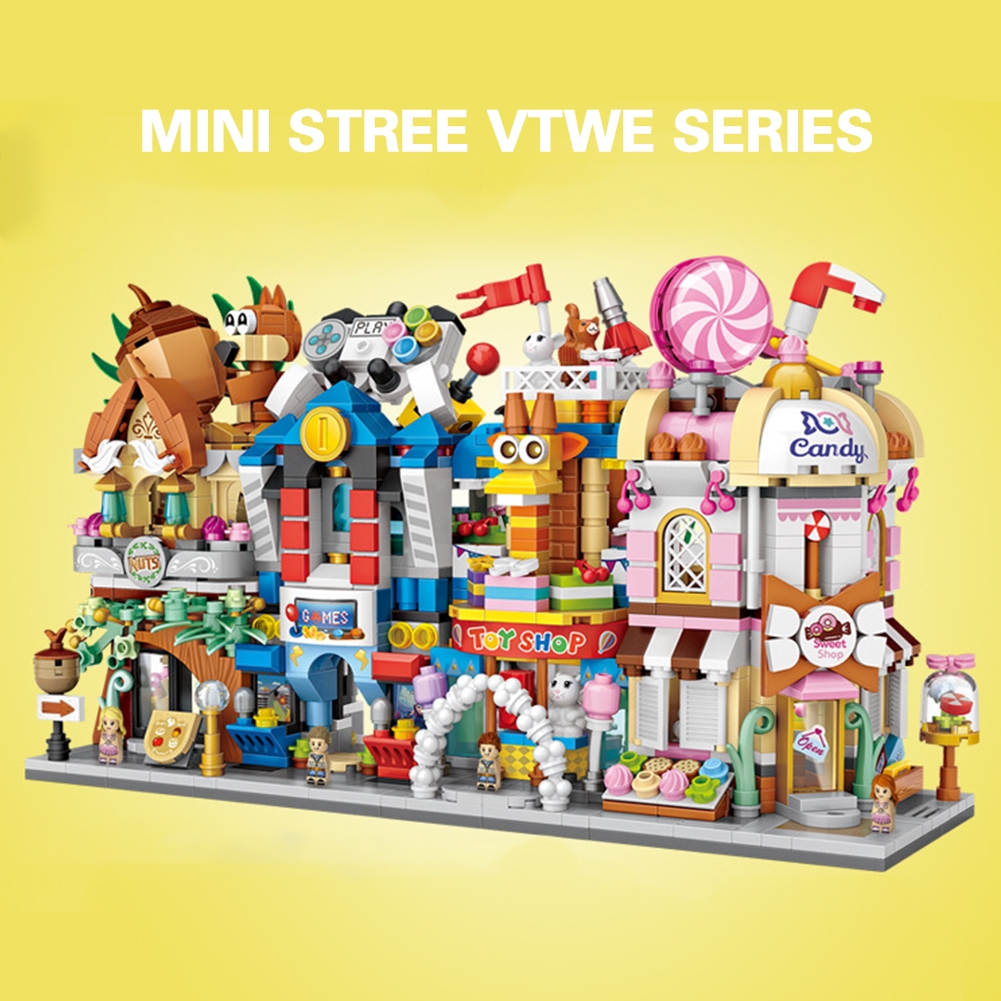 LOZ mini Street view Building Blocks bricks small particle Inserting block Toy store Cinema Restaurant toys for children 19 type