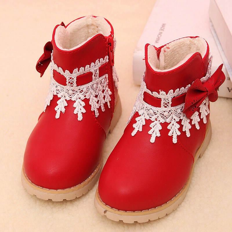 JUSTSL winter girls cotton lace bow cotton boots childrens safty quality snow boots baby shoes keep warm boots for kids