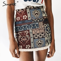 Simplee High Waist Skirts Womens Bottom Short Boho Style Chic Pencil Skirt Female Vintage Sexy Mini