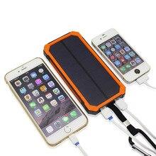 EIKE New outdoor Solar power bank 10000 mah mobile powerbank universal portable solar charger LED light solar battery