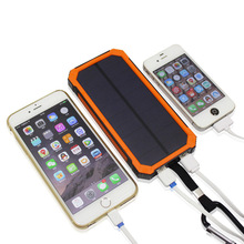 ELECTSHONG New outdoor Solar power bank 10000 mah mobile powerbank universal portable solar charger LED light solar battery
