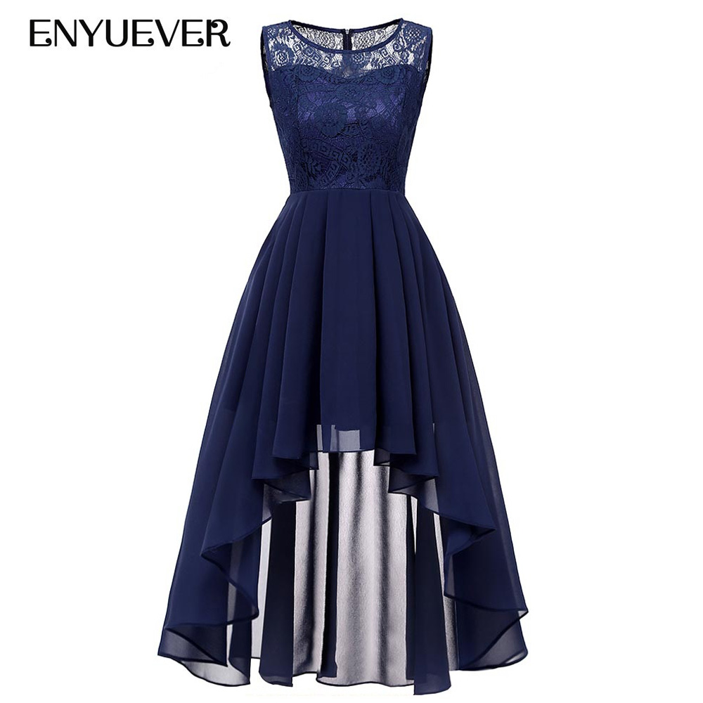 33118e430ad66 Enyuever Navy Blue High Low Women Lace Dress Runway 2019 Sleeveless Elegant  Chiffon Festival Party Vestidos Vintage Dinner Dress