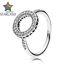 Starland Fine Detail Authentic 925 Sterling Silver Round Ring Hearts of Halo With CZ Rings For Women Wedding Jewelry Party Gifts