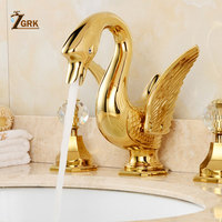 ZGRK Soild Copper Gold Finish Bathroom Brass Ceramic Faucet Luxury Golden Swan Shape Basin Tap Dual Handle Deck Mount