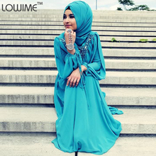 Fashion Turkish Islamic Hijab Long Dress Evening Gowns Long Sleeve Muslim Evening Dress For Muslim Prom Dresses Abaya Dubai