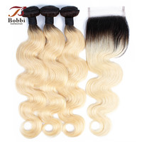 BOBBI COLLECTION Ombre T 1B 613 Dark Root Platinum Blonde 3/4 Bundles With Closure Brazilian Body Wave Remy Human Hair