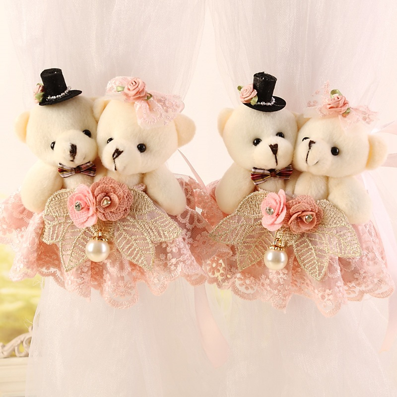 Moda Baby jucărie Cartoon Bear Curtain Curea Curea cortina cortina Wedding Pair Holder Cataramă Bearcurtain Tieback Cârlig cp065 & 15