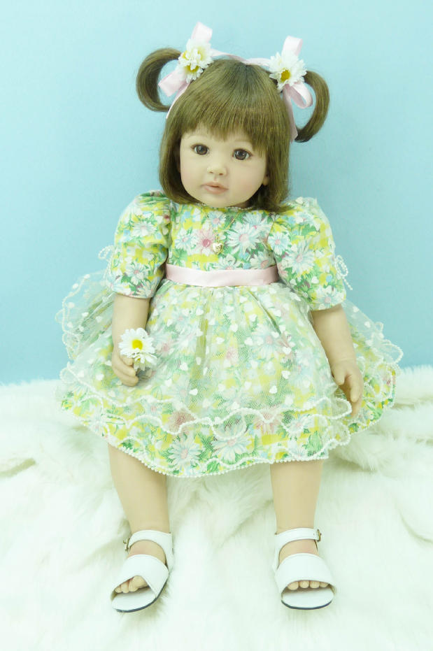 Pursue 24/60 cm Handmade Doll Green Dress Reborn Dolls Babies Silicone Lifelike Baby Girl Toddler Doll Toys for Girls Present handmade chinese ancient doll tang beauty princess pingyang 1 6 bjd dolls 12 jointed doll toy for girl christmas gift brinquedo
