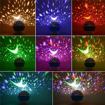 การหมุนดาว Starry Sky LED Night Light โปรเจคเตอร์ Luminaria ดวงจันทร์โคมไฟกลางคืนแบตเตอรี่ USB Night light สำหรับเด็ก