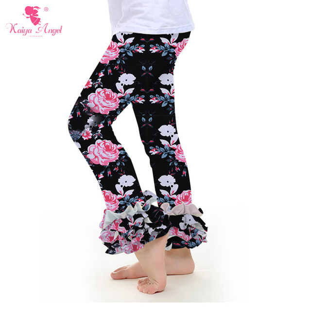 a9053f02f23bd Ruffle Pants Leggings Boutique Clothing Toddler Girl Clothes Ruffle Icing  Pants Floral Chick Flower Donut Heart Pants Wholesale