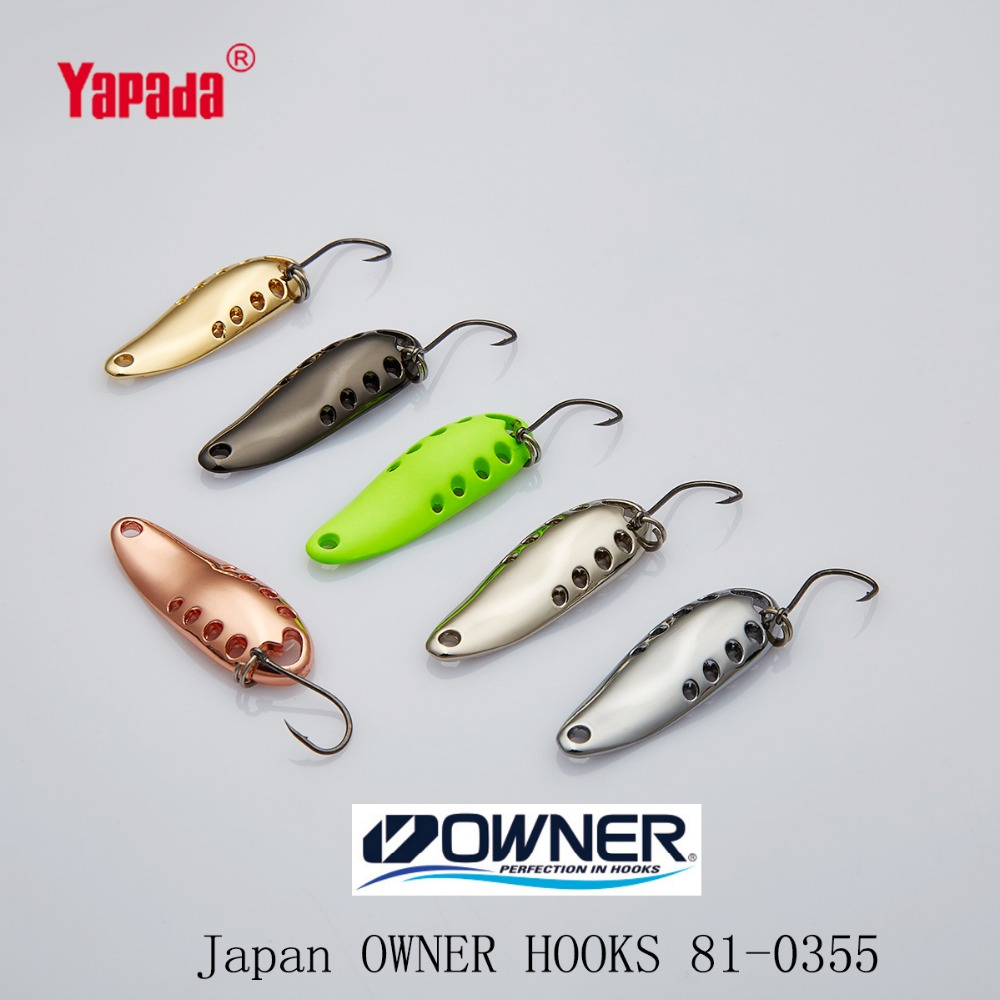 YAPADA Spoon 015 Gossip 2.5g/3.5g/5g Multicolor OWNER Hook 30-33-37mm 6piece/lot  Metal Spoon Fishing Lures owner pin hook черный хром 04