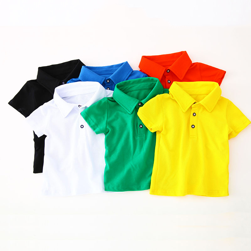 Cotton Brief Solid Summer Polo Shirt For Boy Baby Kids Candy Colors Breathable Boys Shirts Tops Teenager Children's Clothing