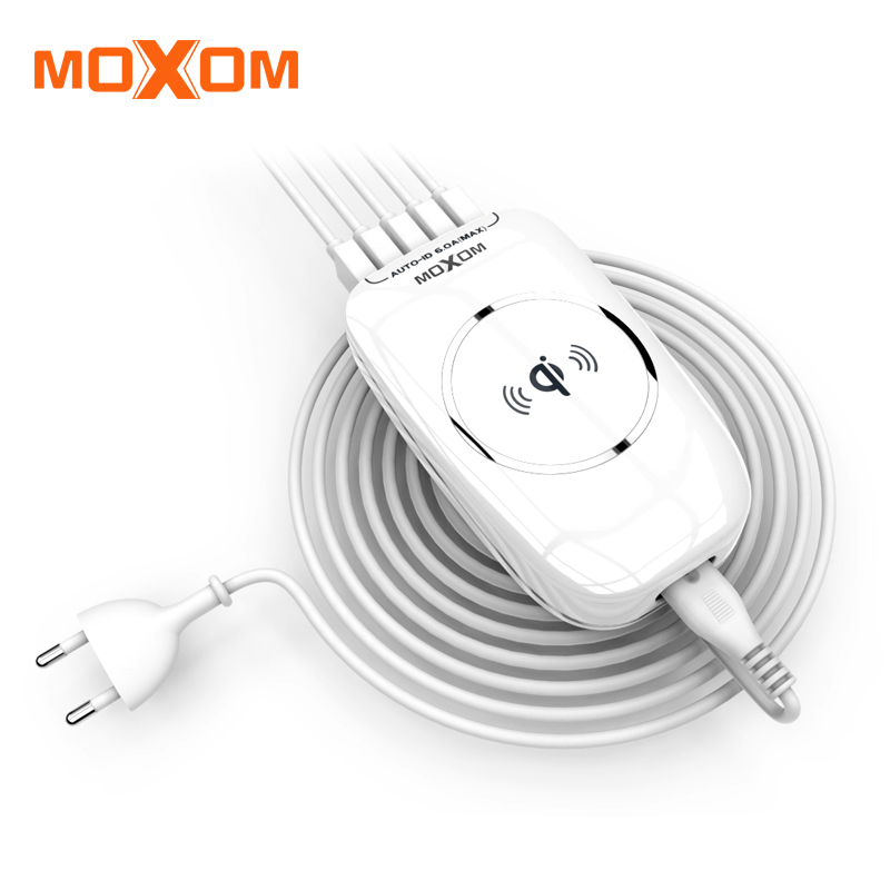MOXOM Wireless Charger Multi Port Fast Wireless Charger Mobile Phone Charger AUTO ID EU Plug Charger For iPhone Samsung Xiaomi
