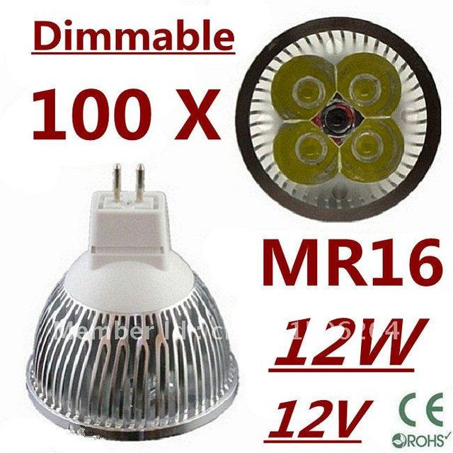 100pcs Dimmable LED High power MR16 4x3W 12W led Light led Lamp led Downlight led bulb spotlight FREE FEDEX and DHL