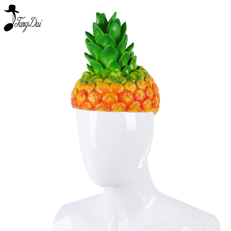 Sincere Adult Halloween Carnival Party Fancy Pineapple Cosplay Cartoon Funny Fruit Costume Hats