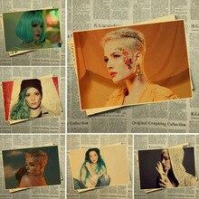 Billboard Hot 100 cantante estadounidense Halsey póster Retro Vintage decoración de la pared para Bar Café para chico habitación