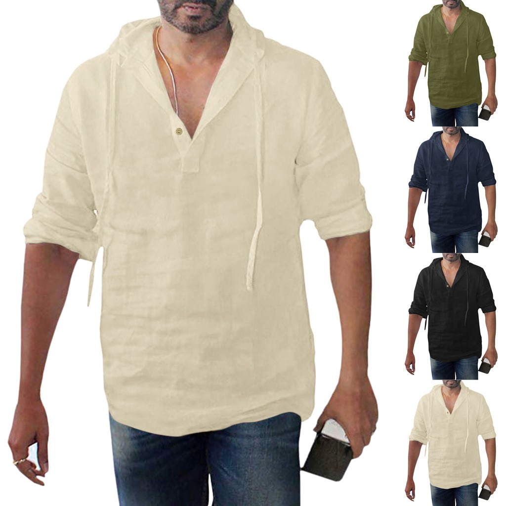 Men's Baggy Cotton Linen Solid Button Plus Size Long Sleeve Hooded Shirts Tops Handsome Men Shirt