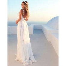 Summer Formal Dresses HOT Women White Lace Sleeveless V-Neck High Waist Maxi Strap Dress