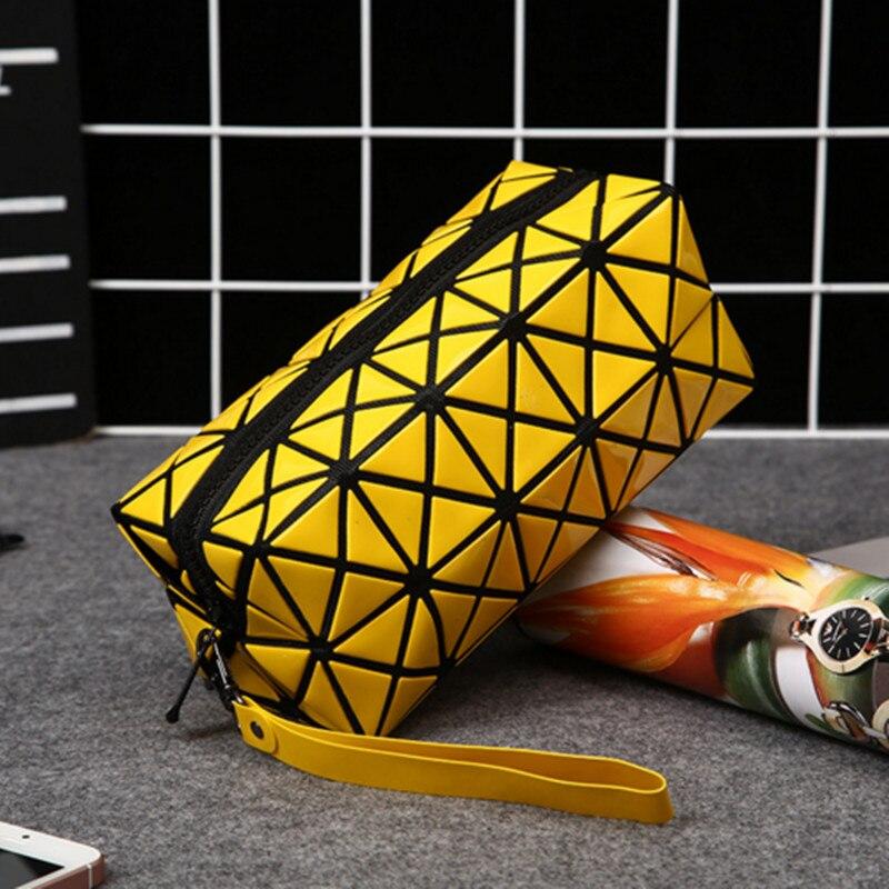 PVC font b women b font make up fashion travel bag organizer diamond lattice cosmetic bag