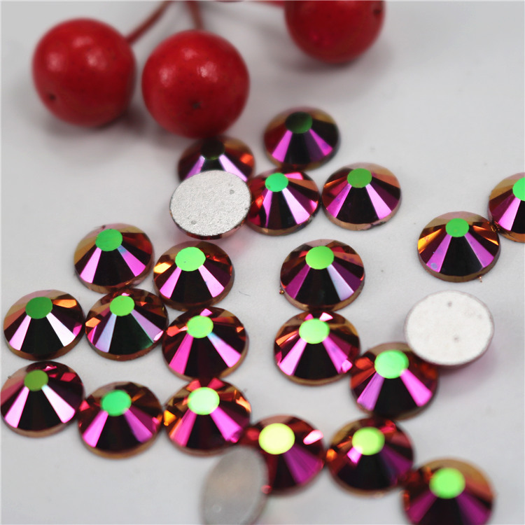 ss3-ss34 rainbow rose gold AB 3D nail Rhinestone, Crystal strass Flatback Rhinestone, round diy Nail Art Decorations Accessories
